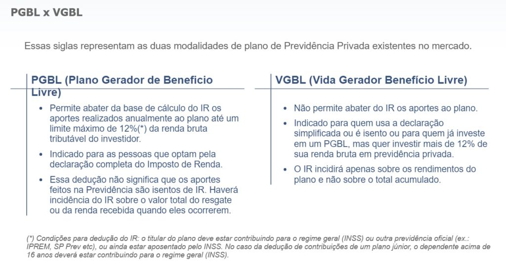 PGBL versus VGBL - blog aplicacoes financeiras